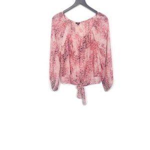 XOXO Pink Leopard Print Long Sleeve Blouse Size L